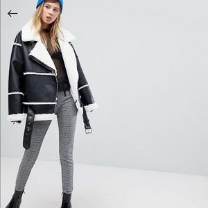 ASOS Jackets & Coats - Monki Faux Leather Shearling Biker Jacket